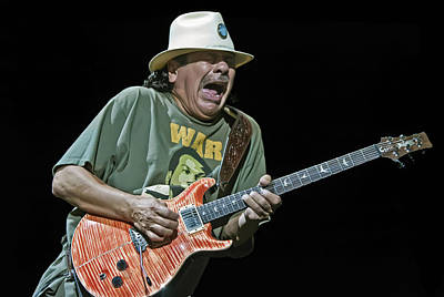 Carlos Santana On Guitar 4 Print by Jennifer Rondinelli Reilly - Fine Art Photography