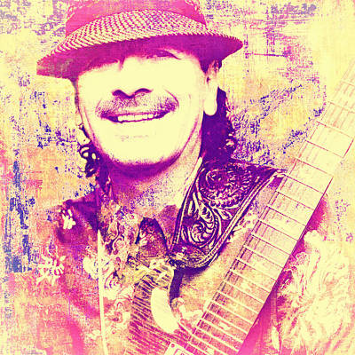 Psychedelic Rock Photograph - Carlos Santana Pop Art Poster by Catherine Arnas
