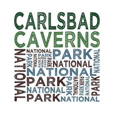 Carlsbad Caverns National Park Words Print by Flo Karp