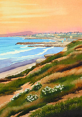 California Surfing Painting - Carlsbad Coastline by Mary Helmreich