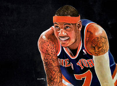 Patrick Ewing Painting - Carmelo Anthony - New York Knicks by Michael  Pattison