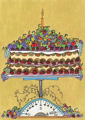 Kiwi Drawing - Carmen Miranda - Cake by Mag Pringle Gire