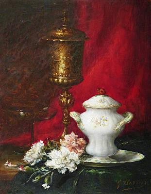 Carnation Painting - Carnations And Sugar Bowl by David Lloyd Glover