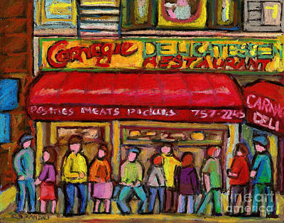 Montreal Bagels Painting - Carnegie's  Deli New York City by Carole Spandau