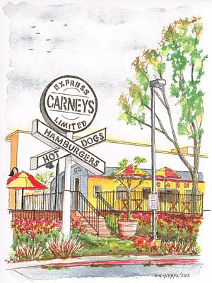 Hot Dogs Painting - Carneys Hamburgers And Hot Dogs In Studio City, California by Carlos G Groppa