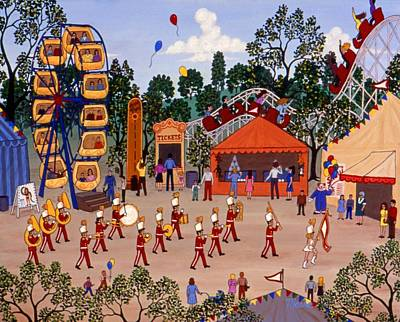Marching Band Painting - Carnival And Parade by Linda Mears