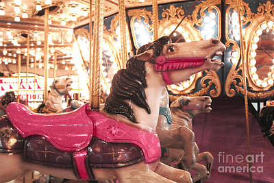 Carousel Horse Photograph - Carnival Carousel Merry Go Round Horses Night Lights - Carousel Horses Hot Pink Carnival Rides by Kathy Fornal