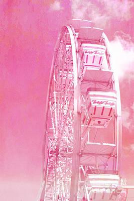 Festivals Fairs Carnival Photograph - Carnival Festival Baby Pink Ferris Wheel - Hot Pink Carnival Festival Ferris Wheel White Clouds by Kathy Fornal