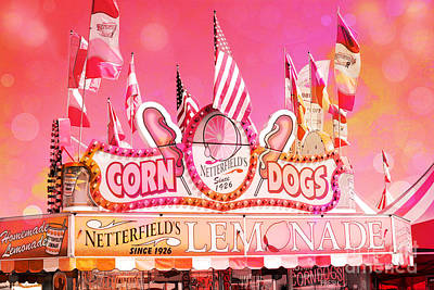 Lemonade Photograph - Carnival Festival Photos - Dreamy Hot Pink Orange Carnival Festival Fair Corn Dog Lemonade Stand by Kathy Fornal