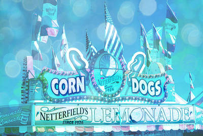 Lemonade Photograph - Carnival Festival Photos - Dreamy Teal Aqua Blue Carnival Festival Fair Corn Dog Lemonade Stand by Kathy Fornal
