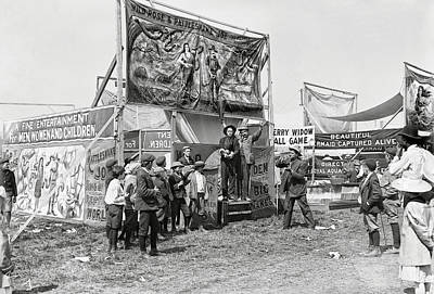 Mermaid Photograph - Carnival Midway 1915 by Daniel Hagerman