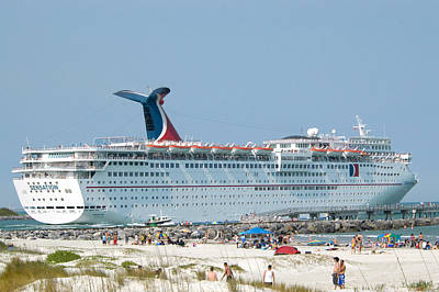 Ships Photograph - Carnival Sensation And Beach by Bradford Martin