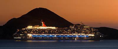 Night Photograph - Carnival Splendor At Cabo San Lucas by Sebastian Musial