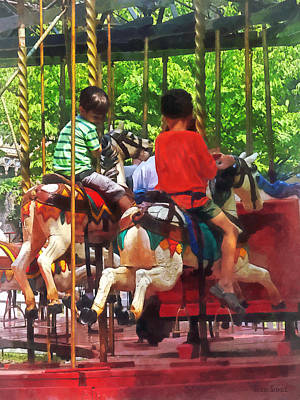 Carnivals - Friends On The Merry-go-round Print by Susan Savad