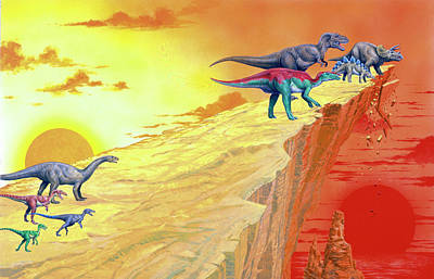 Carnivorous Photograph - Carnivorous Dinosaurs Hunting Herbivores by Deagostini/uig