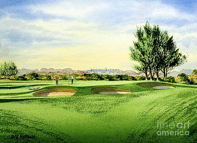 Golf Art Painting - Carnoustie Golf Course 13th Green by Bill Holkham