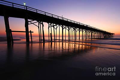 North Carolina Beach Pier - Sunrise Print by Wayne Moran