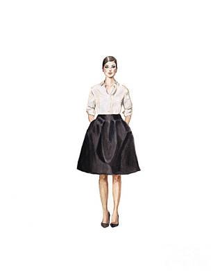 Fashion Painting - Carolina Herrera Classic Look by Jazmin Angeles