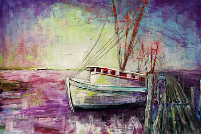 Asheville Artist Painting - Carolina Shrimp Boat by Gray  Artus