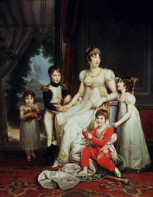 Caroline Bonaparte 1782-1839 And Her Children Oil On Canvas Print by Francois Pascal Simon, Baron Gerard