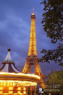 Carousel And Eiffel Tower Print by Brian Jannsen