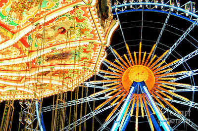 Muenchen Photograph - Carousel And Ferries Wheel At Night At The Octoberfest In Munich by Sabine Jacobs