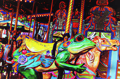 Carousel Frog Print by Marianne Campolongo