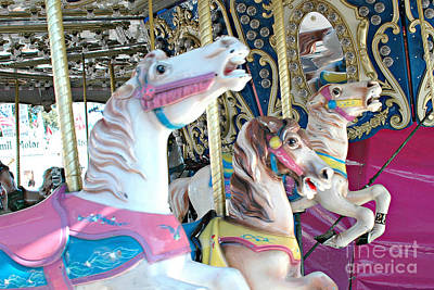 Festivals Fairs Carnival Photograph - Carousel Horses - Dreamy Baby Pink Carousel Merry Go Round Horses  by Kathy Fornal