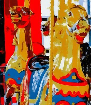 Amusements Mixed Media - Carousel Horses Pop Art by Dan Sproul