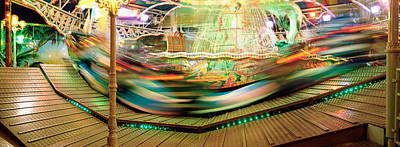 Carousel In Motion, Amusement Park Print by Panoramic Images