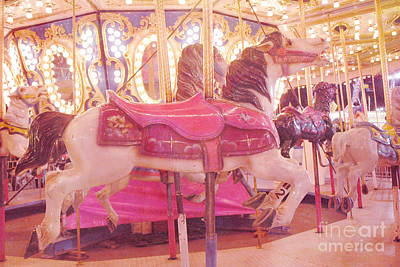 Carousel Horse Photograph - Carousel Merry Go Round Horses - Dreamy Baby Pink Carousel Horses Carnival Rides At Night  by Kathy Fornal
