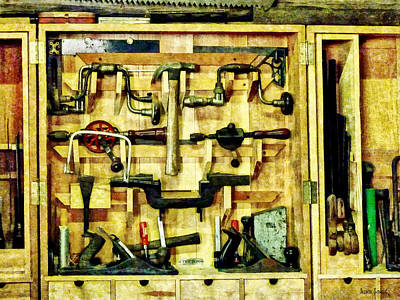 Cabinet Photograph - Carpenter - Woodworking Tools by Susan Savad