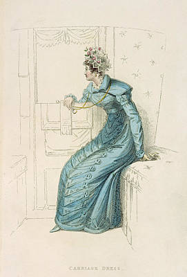 Pendant Drawing - Carriage Dress, Fashion Plate by English School