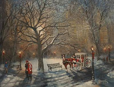 Horse Drawn Carriage Painting - Carriage Ride In Central Park by Tom Shropshire