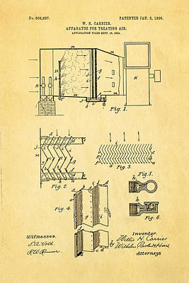 Carrier Air Conditioning Patent Art 1906 Print by Ian Monk