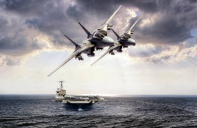 F-14 Digital Art - Carrier Strike Group Three by Peter Chilelli