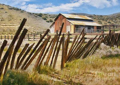 Carrizo Plains Barn Impasto Print by Sharon Foster