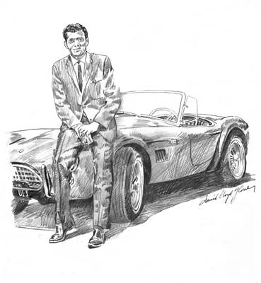 Cobra Drawing - Carroll Shelby And Csx 2000 by David Lloyd Glover