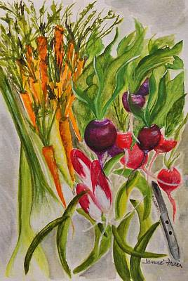 Green Beans Painting - Carrots And Radishes by Jamie Frier