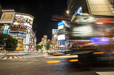 Shibuya Photograph - Cars Crossing In Shibuya by Ruben Vicente