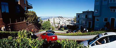 Cars On A Street, Lombard Street, San Print by Panoramic Images