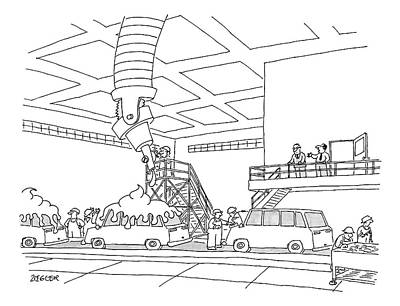 Cars On An Assembly Line Are Covered Print by Jack Ziegler