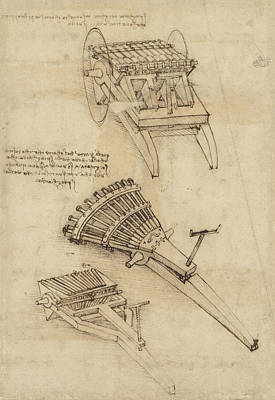Pen Drawing - Cart And Weapons From Atlantic Codex by Leonardo Da Vinci