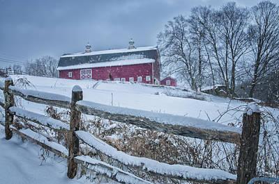 Split Rail Fence Photograph - Carter Farm - Litchfield Hills Winter Scene by Thomas Schoeller