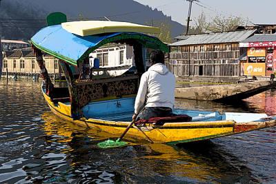 Cartoon - Kashmiri Man Driving This Shikara In The Still Waters Of The Dal Lake In Srinagar Print by Ashish Agarwal
