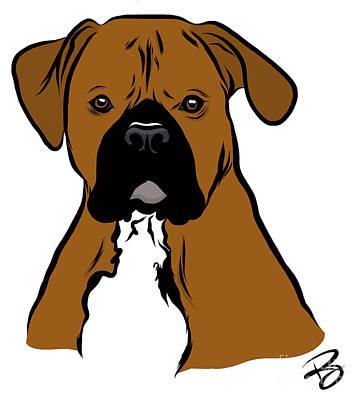 Boxer Dog Art Drawing - Cartoon Boxer by Rachel Barrett