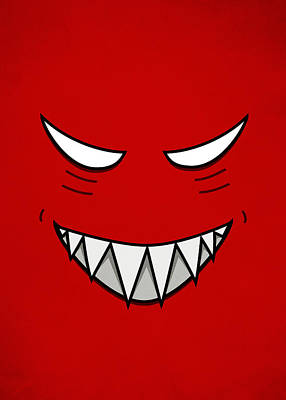 Cartoon Grinning Face With Evil Eyes Print by Boriana Giormova