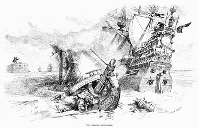 Pirate Ship Painting - Cartoon Monopoly, 1888 by Granger