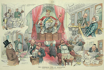 Uncle Sam Painting - Cartoon Puck, 1905 by Granger