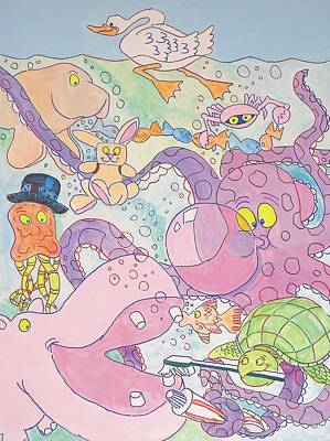 Hippopotamus Mixed Media - Cartoon Sea Creatures by Mike Jory